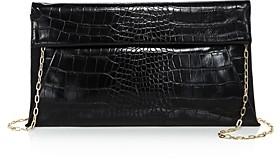 Aqua Medium Croc-Embossed Foldover Crossbody Clutch - 100% Exclusive