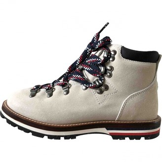 Moncler Ecru Leather Boots