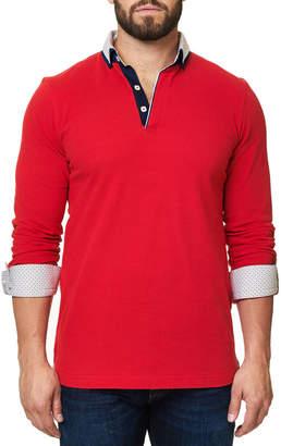 Maceoo Men's Solid Long-Sleeve Polo Shirt
