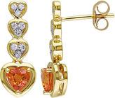 FINE JEWELRY Genuine Orange and White Sapphire Heart-Shaped Drop Earrings