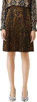 Burberry Rersby Pleated Leopard Print Skirt