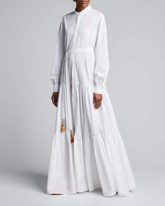 Evi Grintela Beldi Tassel-Belt Tiered Shirtdress