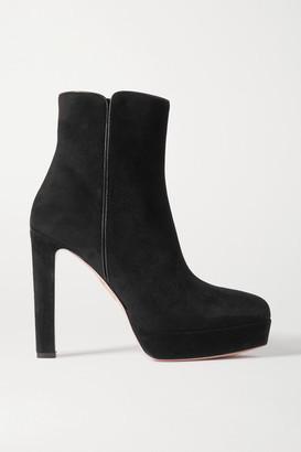 Aquazzura Quant 120 Suede Platform Ankle Boots - Black