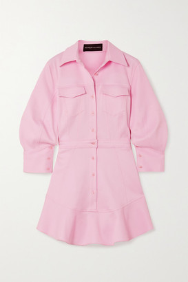 Brandon Maxwell Cotton-blend Pique Mini Shirt Dress - Pastel pink