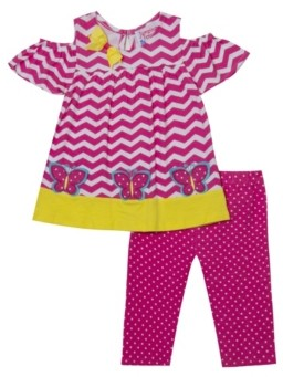 Rare Editions Little Girls Butterfly Applique Top and Legging Set