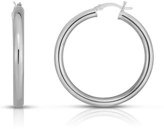 Sphera Milano 14K White Gold Plated Sterling Silver Hoop Earrings