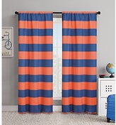 2 Piece 84 Inch Orange Navy Blue Rugby Stripes Curtains Pair Panel Set,  Tangerine Drapes