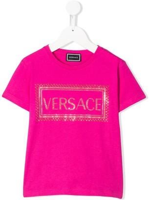 Versace rhinestone logo crew-neck T-shirt