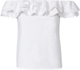 Exclusive for Intermix Izzie Embroidered Off Shoulder Top White S