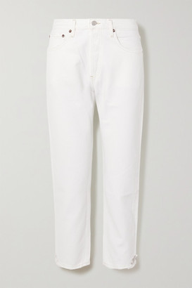 AGOLDE Parker Distressed High-rise Straight-leg Jeans - White