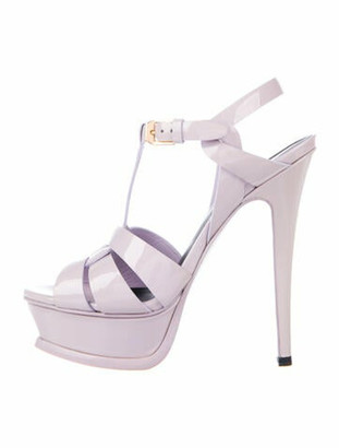 Saint Laurent Tribute Patent Leather T-Strap Sandals Purple