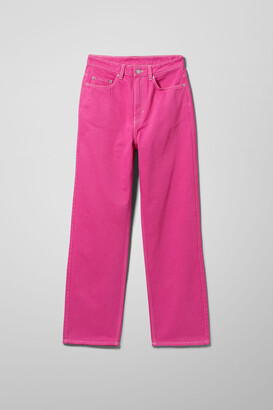 Weekday Rowe Extra High Straight Jeans - Pink
