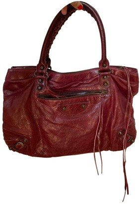 Balenciaga Classic Metalic Burgundy Leather Handbags