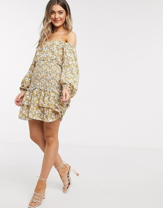 Outrageous Fortune off shoulder shirred detail mini ruffle skater dress in yellow floral print