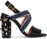 Marni Leather-trimmed Embellished Satin Sandals - Black