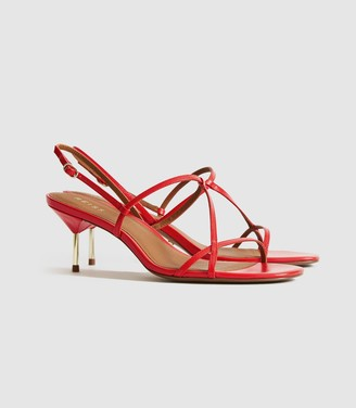 Reiss Ophelia - Leather Strappy Kitten Heels in Red