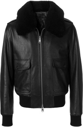 Ami Zipped Jacket With Quilted Lining And Shearling Collar