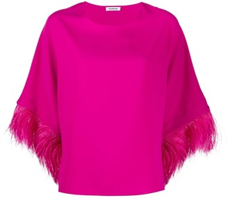P.A.R.O.S.H. Feather Trimmed Cropped Sleeve Top