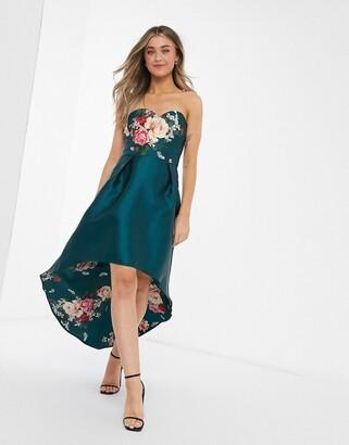 Chi Chi London bandeau hi low dress in teal floral