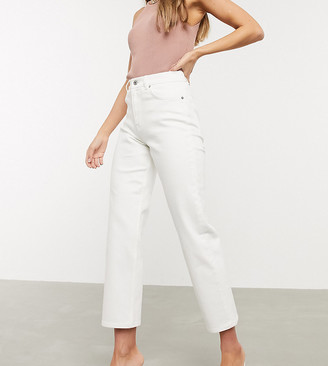 ASOS DESIGN high rise stretch 'slim' straight jeans in white