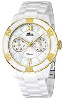 Lotus Women's Quartz Watch with White Dial Analogue Display and White Ceramic Bracelet 15930/2