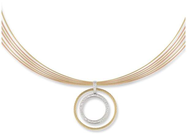 Alor 18K White Gold and Stainless Steel Grey, Rose, and Yellow Cable 0.39ct Diamond Necklace