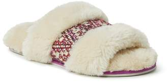 Dearfoams Novelty Woven Insert Faux Fur Slide