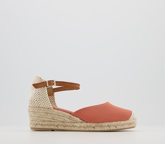 Office Miller Ankle Strap Closed In Espadrilles Coral Canvas