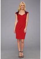 Maggy London Baroque Jacquard Embellished Shoulder Dress (Red) Women's Dress