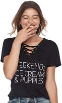 "Fifth Sun Juniors' Weekends"" Lace-Up Graphic Tee"