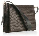 brown woven leather messenger bag