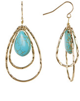 Cara Accessories Oval Double Hoop Turquoise Dangle Earrings