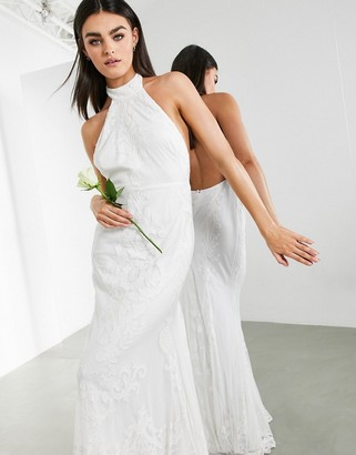 ASOS EDITION Ottilie halter applique and embroidered wedding dress with fishtail