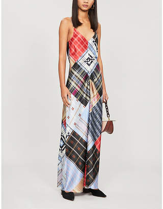 Ganni Checked sleeveless stretch-silk maxi dress