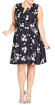 City Chic Plus Sleeveless Belted Floral Print Dress