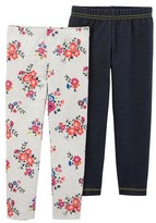 Just One YouMade by Carter's® Girls' 2 Pack Floral Chambray Leggings - Ivory/Pink/Denim