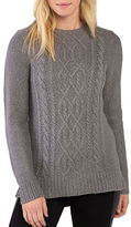 Kensie Punk Yarn Cable-Knit Crewneck Sweater