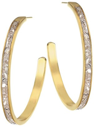 Shana Gulati Harper 18K Yellow Goldplated & Sliced Raw Diamond Hoop Earrings