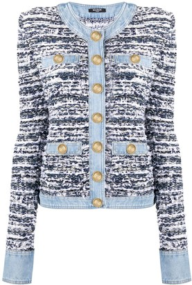 Balmain button up tweed and denim jacket