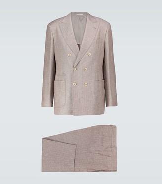 Brunello Cucinelli Double-breasted linen-silk suit