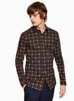 Topman Geometric Chain Stretch Skinny Shirt