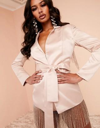 Asos Design DESIGN Luxe satin belted jacket with embellished fringe trim in pink