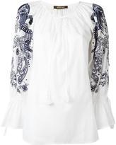 Roberto Cavalli embroidered sleeve blouse - women - Cotton - 40