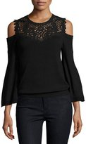 Kobi Halperin Selena Cold-Shoulder Lace-Yoke Merino Sweater, Black