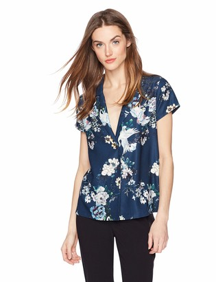 Daisy Drive Women's Floral and Bird Print Short Sleeve Button Through Top Small Blue