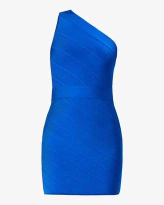 Herve Leger One-Shoulder Asymmetrical Mini Dress