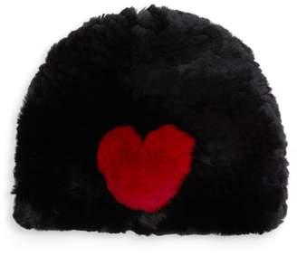 Jocelyn Heart Rabbit Fur Beanie