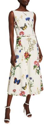 Oscar de la Renta Bateau-Neck Midi Fit & Flare Dress