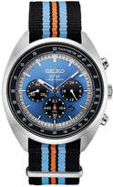 Seiko Men's Solar Chronograph Recraft Series Black, Orange & Blue Nylon Strap Watch 43.5mm