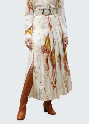 Lafayette 148 New York Eleanor Geode Print Pleated Maxi Skirt